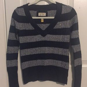 American Eagle Outfitters Striped V-Neck Sweater